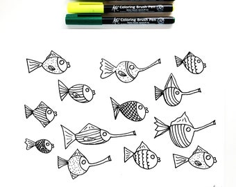 Coloring Sheet for Kids and Adults, School of Fish Coloring Sheet, Nature Coloring Sheet, DIY Adult Coloring Book DIGITAL DOWNLOAD