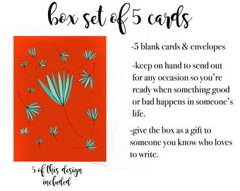 Gift Box Set of 5 Colorful Cards, Box Set of Blank Cards, Gift for Writer