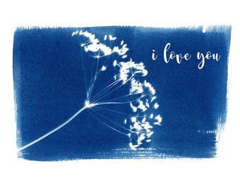 Cyanotype I Love You Greeting Card, Valentines Day Card, Anniversary Card, Love Greeting Card, Blue and White Card