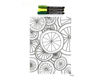 Coloring Sheet for Kids and Adults, Citrus Coloring Sheet, Nature Coloring Sheet, DIY Adult Coloring Book DIGITAL DOWNLOAD
