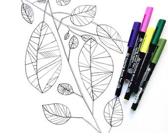 Coloring Sheet for Kids and Adults, Nature Coloring Sheet, DIY Coloring Book Page, Adult Coloring Book, DIGITAL DOWNLOAD