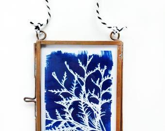 Cedar & Fern Cyanotype Copper Tiny Art, Gift for Artist, Nature Lover Gift, Gift for Gardener, Mother's Day Gift