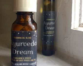 AYURVEDA DREAM-warming oil blend-cardamom, ginger, dandelion oil-essential oils-aromatherapy