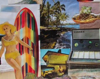 VINTAGE MAGAZINES-Original assorted collage art-10.5x14 inches-5 choices: west, sunrise, city, married, surfing-paper