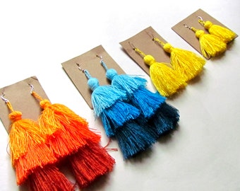 TOTALLY TASSELS-Original tassel jewelry-various sizes and colors-earrings, necklaces, keychain-beads-fun and funky-makers gonna make