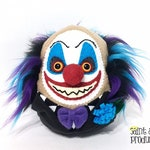 Evil Clown Plushie, Stuffed Creepy Scary Art Doll, Wild Black Purple Blue Hair, Insane, Crazy Circus, Carnival Plush, READY to SHIP
