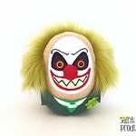 Evil Clown Plushie, Stuffed Creepy Scary Halloween Doll, Carnival Plush, St. Patrick's Day, Shamrock, Green Hair, READY TO SHIP