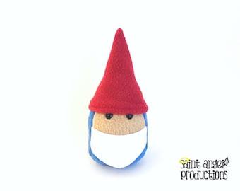 Stuffed Mini Gnome Plushie, Small Plush Garden Gnome in Red and Blue, Cute White Beard, READY TO SHIP