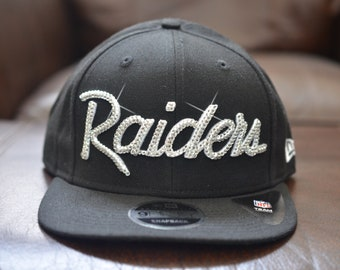 sports shoes fde1a 4a4b6 Bling Bling Customized Oakland Raiders New Era NFL Retro Script 9FIFTY  Snapback Cap With Swarovski Crystals