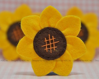 1f62c1efe74 Set of 6pcs handmade felt sunflower--gold dark brown (FT945)