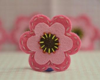 Set of 6pcs handmade felt flower--dark canation/baby pink (FT829)