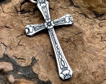 Handmade Glass Beads Leah Deeb Jewelry - Sweet Silver Cross Pendant