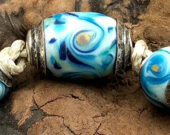 BHB Glass Beads of Passion Leah Deeb - 3pc Aqua Swirl Pastel Big Hole Capped Set
