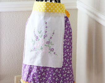 Repurposed Handmade Half Apron for Women Vintage Table Cloth Apron Embroidered Apron Yellow And Purple Floral