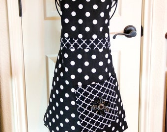 Black White Polka Dot Full Apron For Girls Or Women Large Pocket Handmade New Apron Fabric Flower With Button Accent