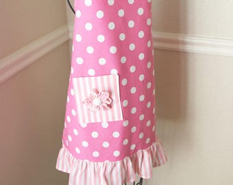 Pink Polka Dot Full Apron For Girls With Fabric Flower Embellishment On Pocket Pink And White Stripe Ruffle