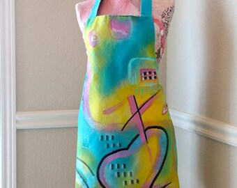 Graffiti Style Apron Spray Paint Handmade Full Size Artist or Craft Apron Hand Painted OOAK