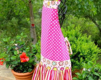 Hip Hugger Mod Handmade Apron Pink Polka Dot With Floral and Stripe Print Full Apron For Girls Or Women