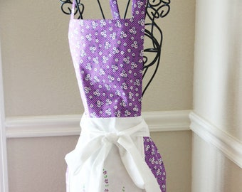 Repurposed Vintage Table Cloth Apron Full Woman's Handmade Apron Purple Floral Retro Style Old Fashioned Apron