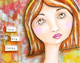 You Are Loved Original Angel Art Mixed Media Acrylic Painting 9 x 12 Gallery Wrapped Canvas