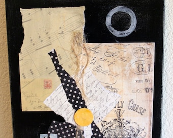 "Mixed Media Art Collage titled ""Touche"" Black & Cream Vintage Style Papers On 11 x 14 Canvas"