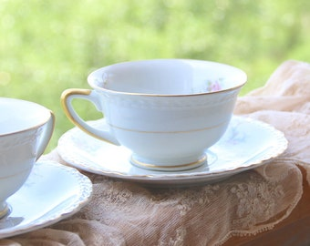 Set Of Two Vintage Tea Cup & Saucer Embassy USA Vitrified China