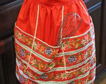 Handmade Vintage Red Half Apron For Ladies With 5 Pockets Trimmed With White Rick Rack