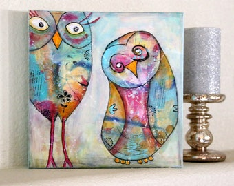 Children's Owl ART Original Mixed Media Acrylic Painting 10 x 10 Canvas A COUPLE Of OWLS By Charlotte Littlejohn