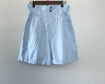 0b67d531988 Vintage Denim Ruffle Waist Shorts Paper Bag Waist Pull on Shorts