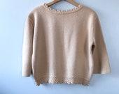 Vintage Tan Knit 60s Swea...