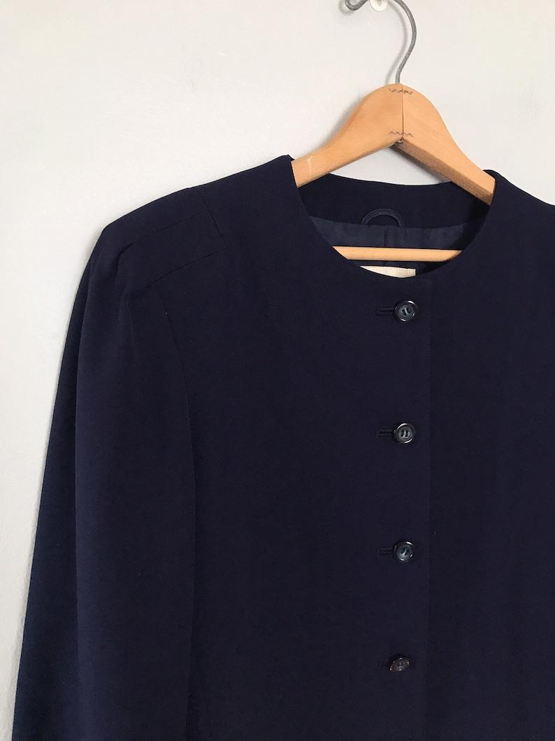 Navy Blue Blazer Boxy Cropped Jacket Minimalist Structured Shoulder Blazer
