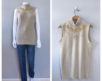 Vintage Tan Knit Tank Top Gold Embroidered tank top
