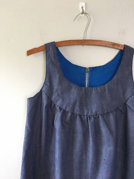 Trapeze Dress Smock Denim Summer Dress Vintage Blue Dress 1q5vtnx