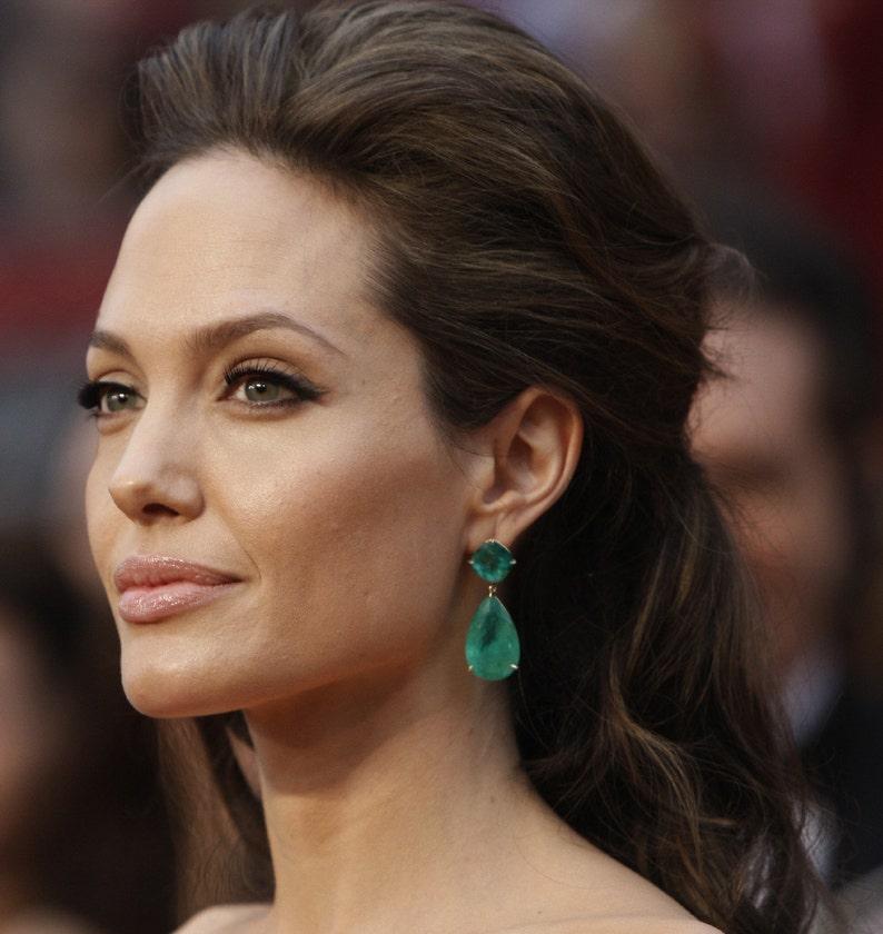 672a5b11d Angelina Jolie Inspired Emerald Green Onyx Stone Gold Dangle | Etsy