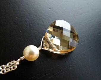 Swarovski Crystal Necklace Champagne Briolette Sterling Pendant BN3
