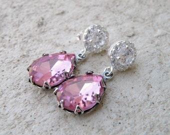 Pastel Pink Earrings Foiled Teardrop Stone Rhinestone Silver Stud BEV6