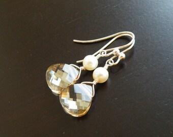 Swarovski Crystal Earrings Champagne Briolette Sterling BE11