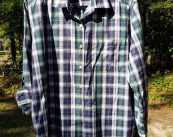27e0f30f663 Blue and green plaid shirt