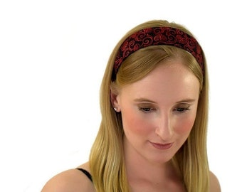 Skinny Headband, Delicate Red Leaves and Vine Over Black, Gorgeous Fabric Headband