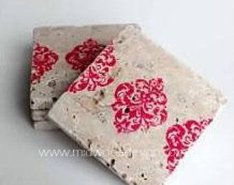 Crimson red damask Stripe design stone tile coasters set of 4