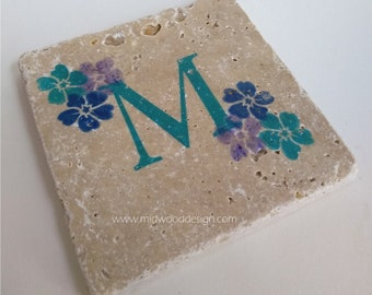 Teal blueCobalt and Purple M Initial stone tile coaster set of 4