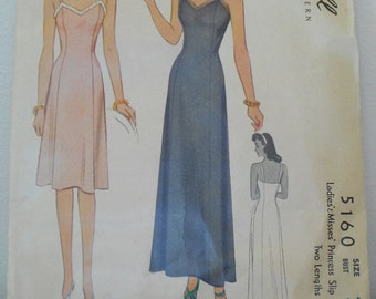 McCall 5160 Ladies & Misses Princess Slip 1943 Vintage Sewing Pattern Size 40