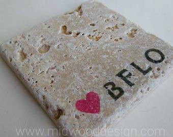 Love Buffalo stone tile travertine coasters set of 4