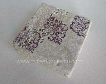 Custom color damask Stripe design stone tile coasters set of 4