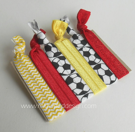 Soccer Red And Yellow Fold Over Elastic Hair Ties Set Of 6