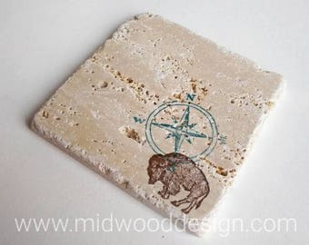 Explore Buffalo stone tile travertine coasters set of 4