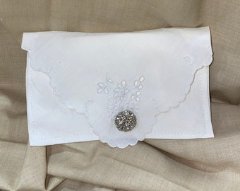 Lavender Bud Sachet with Hand Embroidery and a Rhinestone Button Bridal Wedding Bridesmaid Party Housewarming Hostess Gift