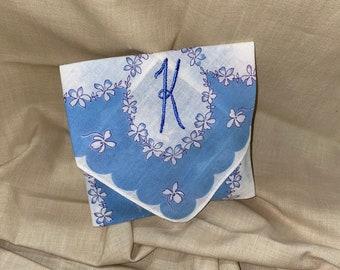 Lavender Sachet Made from an Vintage Initial K Handkerchief Something Blue Bridal Wedding Bridesmaid Party Housewarming Hostess Teacher Gift