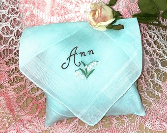 Lavender Sachet Made from a Mint Green Vintage Handkerchief with Ann Embroidered Bridal Wedding Bridesmaid Party Housewarming Hostess Gift