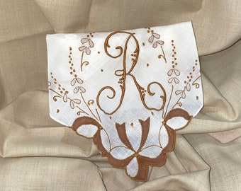 Lavender Sachet Made from an Vintage Brown Initial R Handkerchief Bridal Wedding Bridesmaid Party Housewarming Hostess Gift